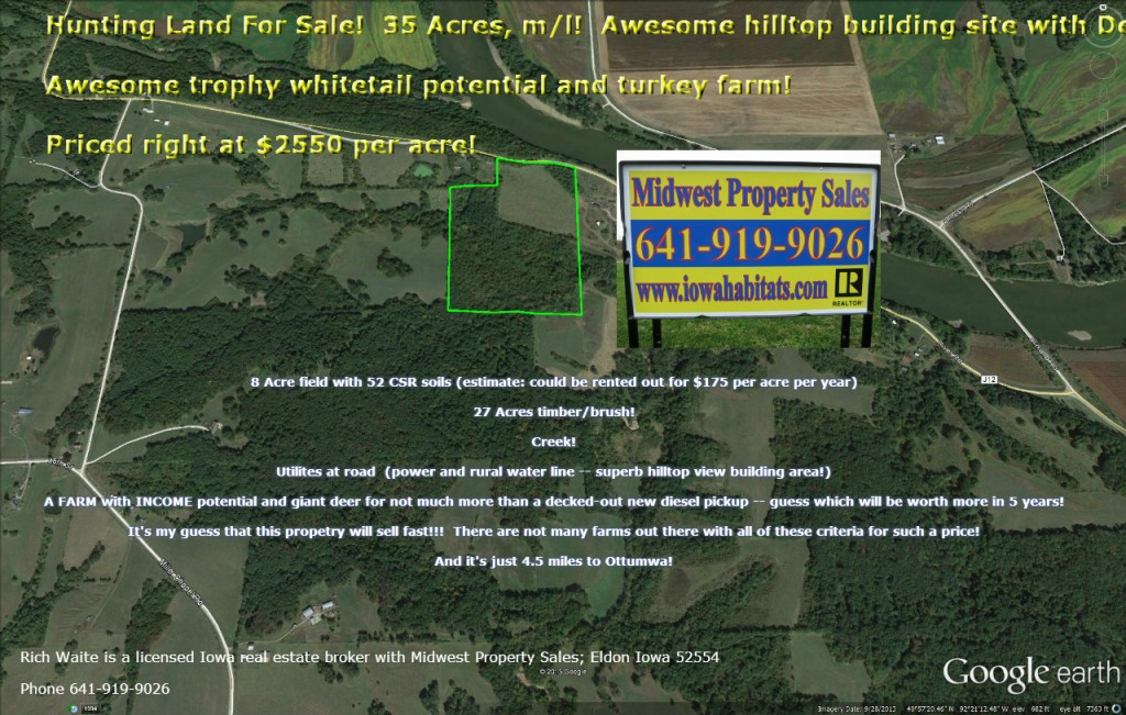 photo of wapello county 35 acres for sale -- google earth view