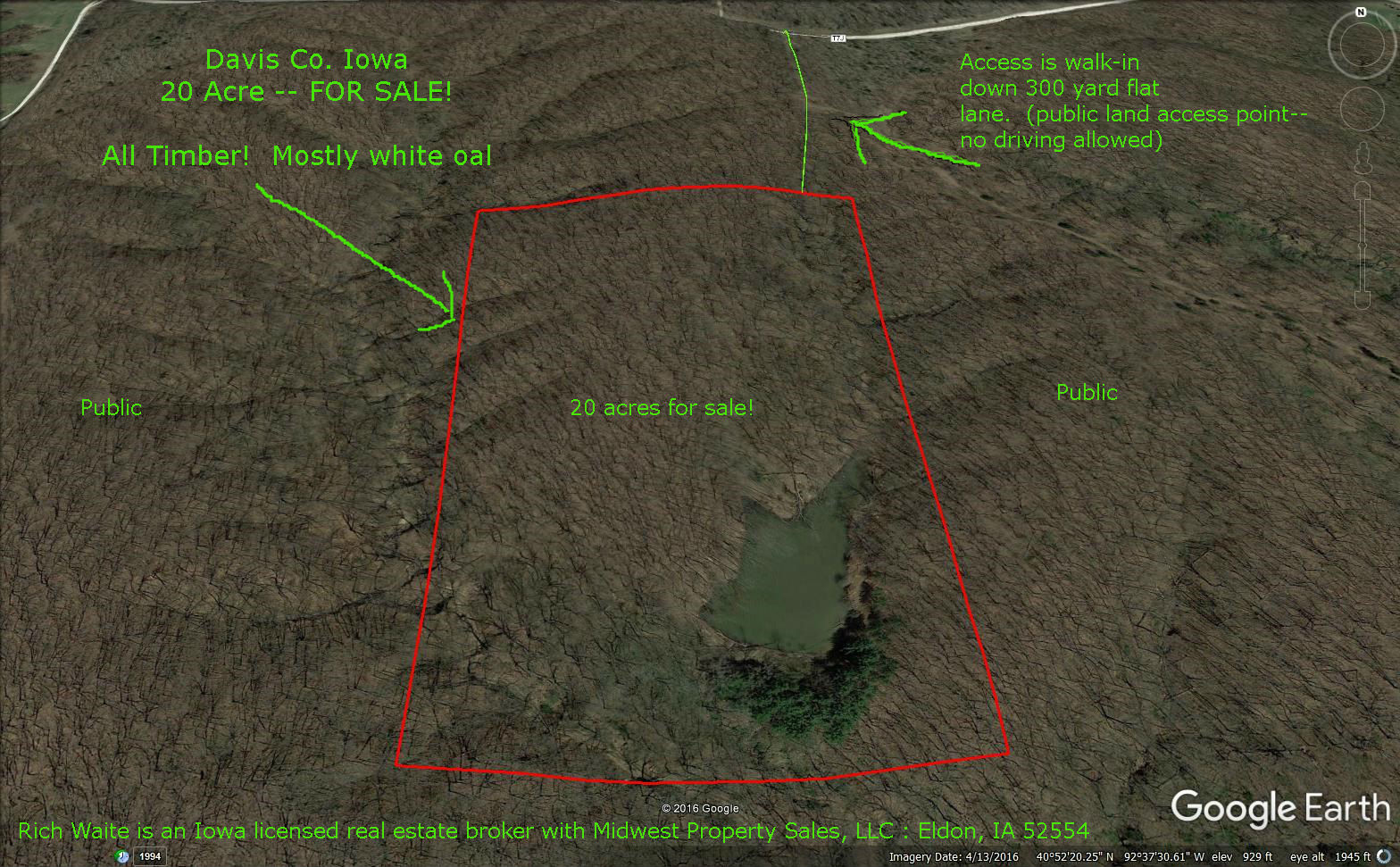 Davis county Iowa 20 acre timber ground for sale