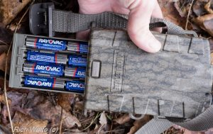 Picture of Moultrie mobile modem showing batteries.